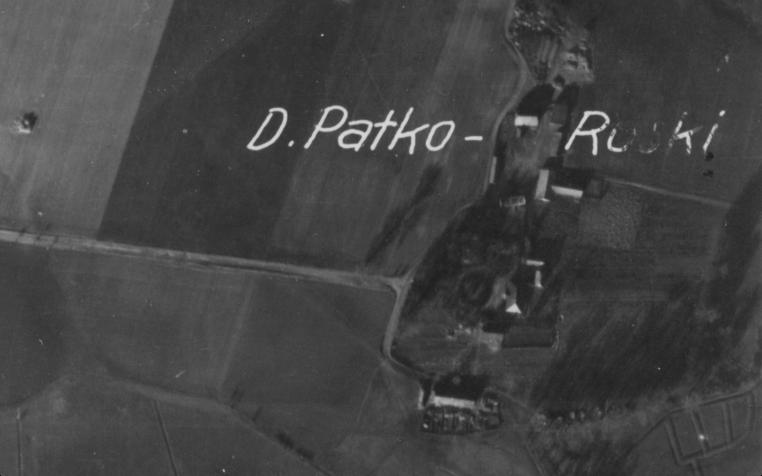 Dwór Patków Ruski - zdjęcie lotnicze, lata 40-te, XX w.