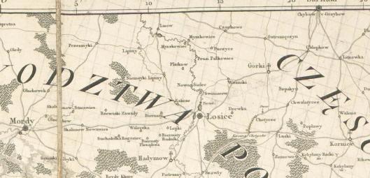 Mapa woj. Lubelskiego wyd. 1785 r.