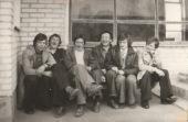 na przystanku PKP w Patkowie, od lewej: Paweł Fabisiak, M. Rak, A. Rak, A. Gil, Stanisław Gmitruk, Andrzej Raczuk
